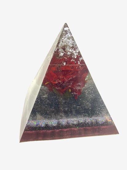 Red Rose & Silver Large Pyramid by Spirited Pyramids
