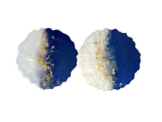 Blue, White, and Gold Coaster Set by Spirited Pyramida