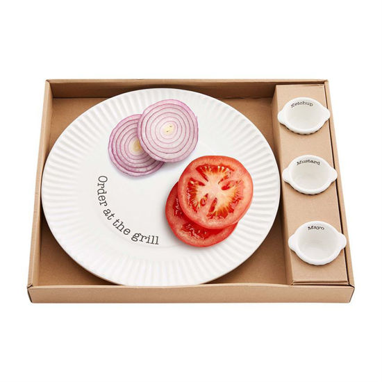 Grill Plate & Condiment Set by Mudpie
