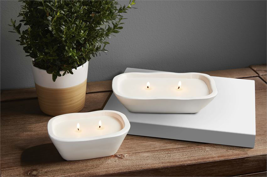 White Bowl Candle by Mudpie
