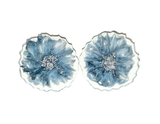 Blue and Silver Flower Coaster Set by Spirited Pyramids