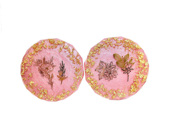 Gold and Pink Flower Print Coaster Set by Spirited Pyramids