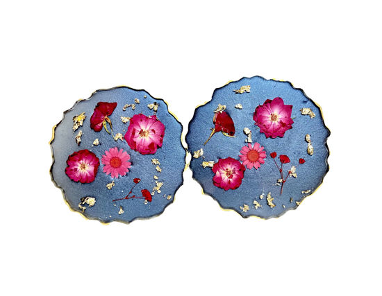 Dark Pink Flowers with Gold and Black Coaster Set by Spirited Pyramids