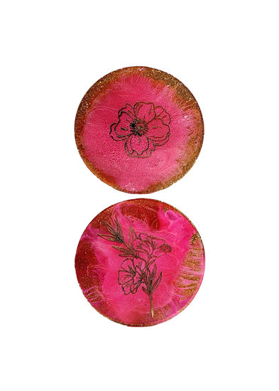 Gold Flower Print & Pink Burst Coaster Set by Spirited Pyramids