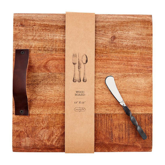 Leather Handle Square Wood Board by Mudpie