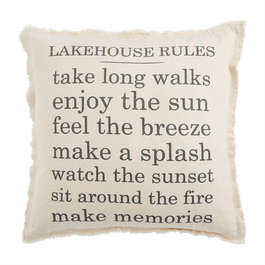 Lake House Rules Pillow by Mudpie