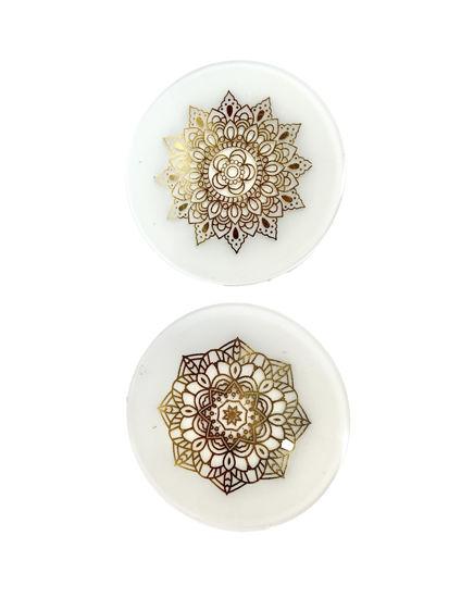 Mandala on White Coaster Set by Spirited Pyramids