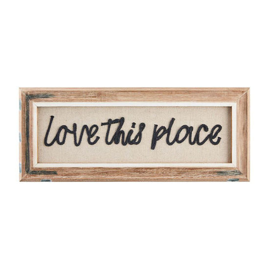 Love This Place Yarn Applique Plaque by Mudpie