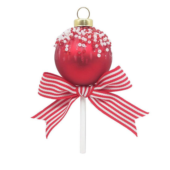 Red and White Lollipop Ornament by Kat + Annie