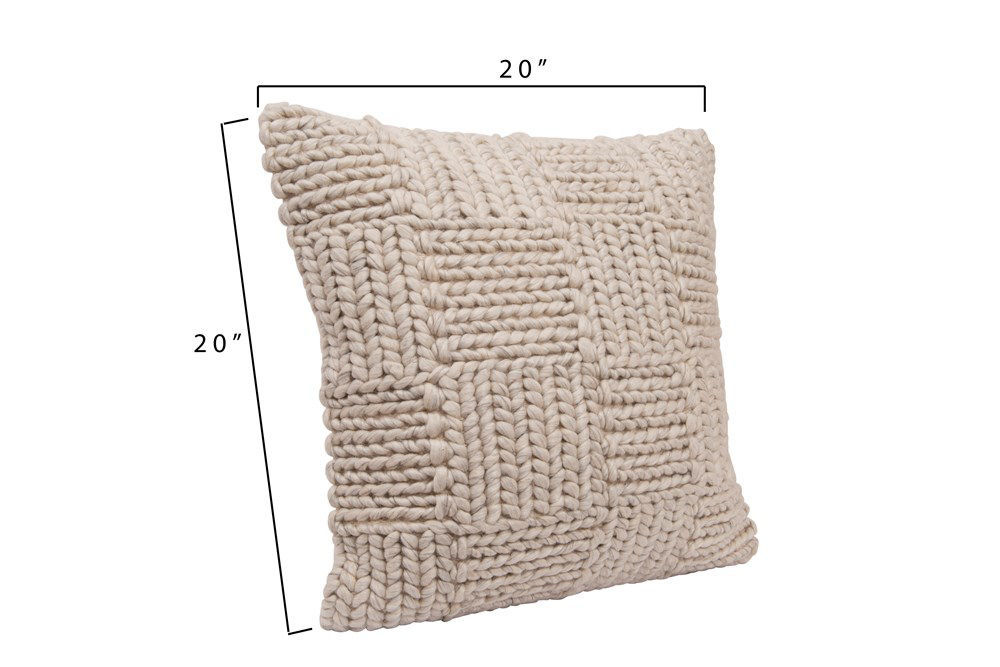 """20"""" Square Knit Wool Pillow, Cream by Creative Co-op"""