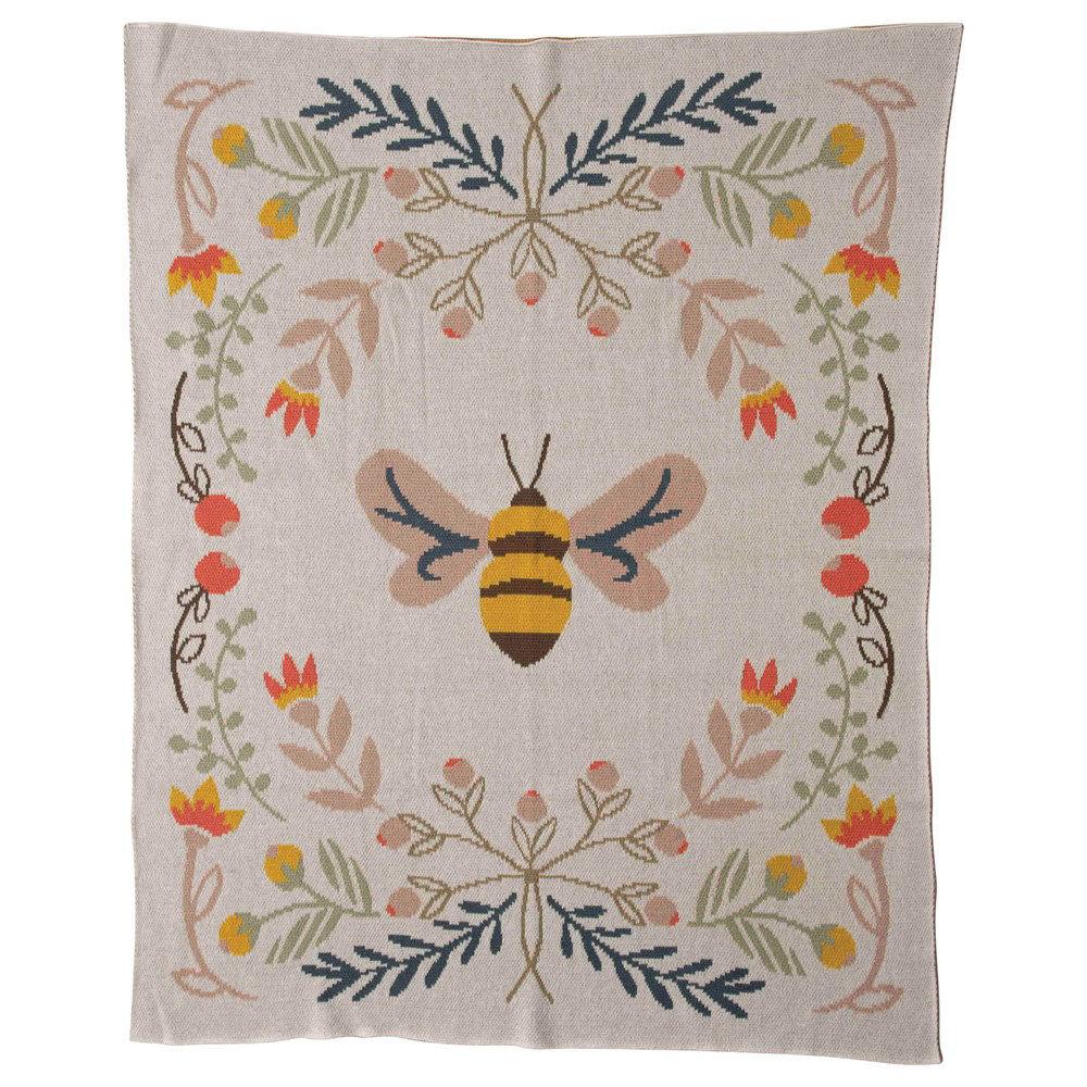 Baby Blanket w/ Bee  by Creative Co-op