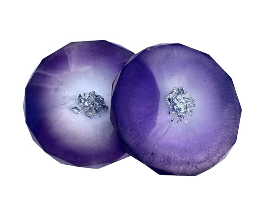 Purple Fade with Silver Center Coaster Set by Spirited Pyramids