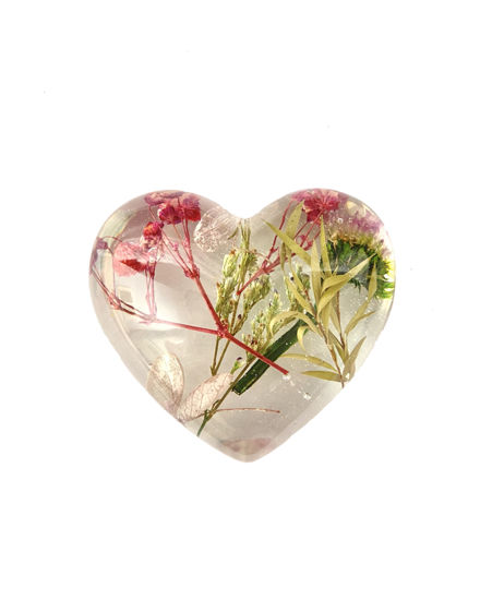 Pink & Green Flowers Large Heart by Spirited Pyramids