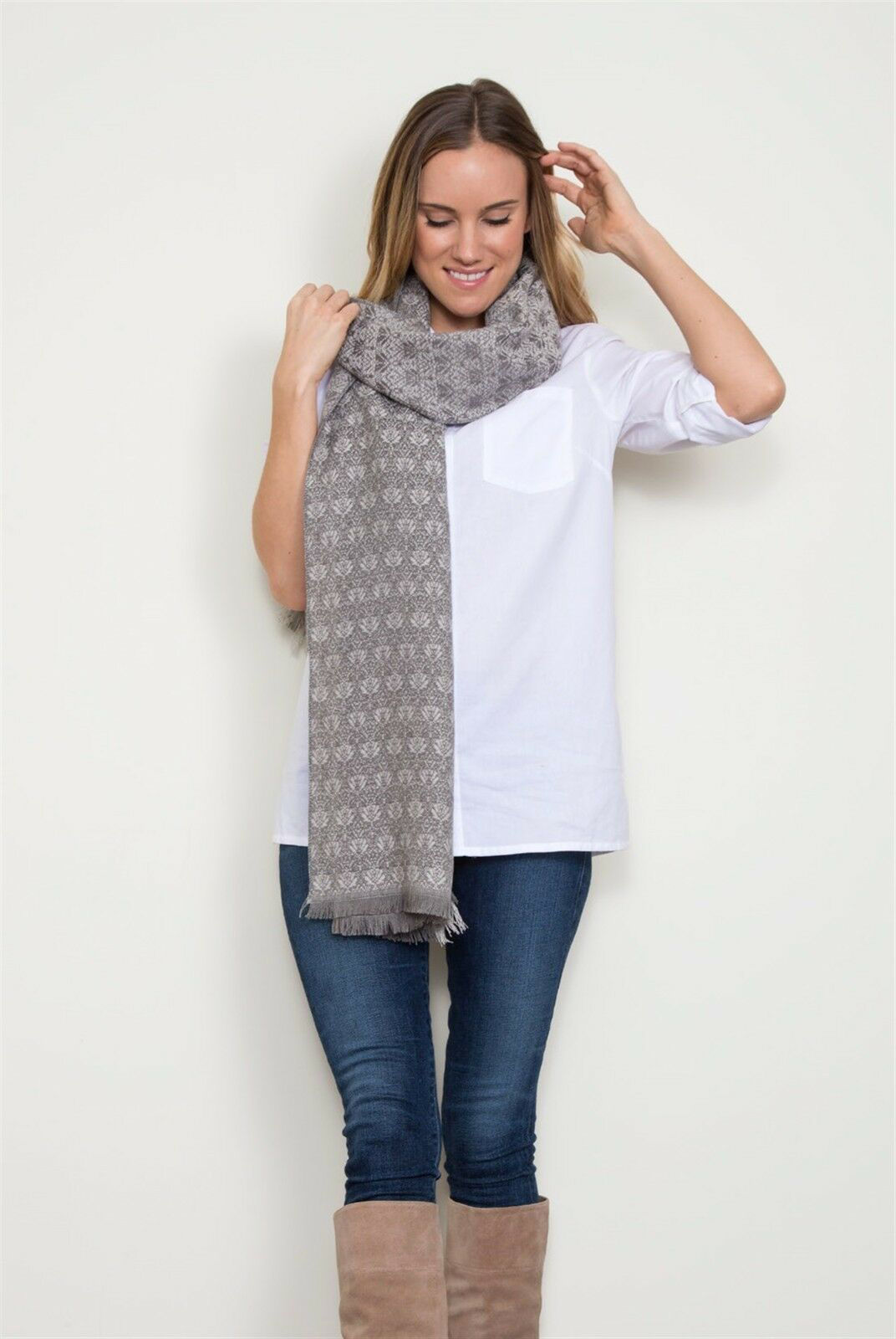 Queen B Wrap Scarf (Oyster) by Simply Noelle