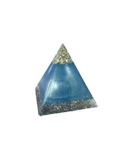 Blue and Silver Glitter Extra Small Pyramid by Spirited Pyramids