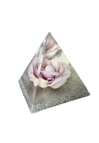 Purple Rose with Silver Base Small Pyramid by Spirited Pyramids