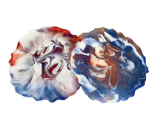 Red, White, & Blue Swirls Coaster Set by Spirited Pyramids