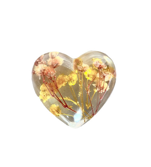 Pink & Yellow Tiny Flowers Small Heart by Spirited Pyramids