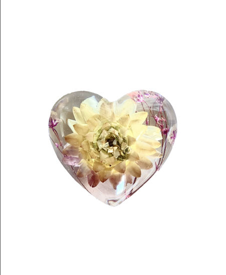 Pink and Ivory Flower with Tiny Flowers Small Heart by Spirited Pyramids