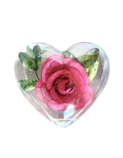 Dark Pink Rose with Leaves Large Heart by Spirited Pyramids