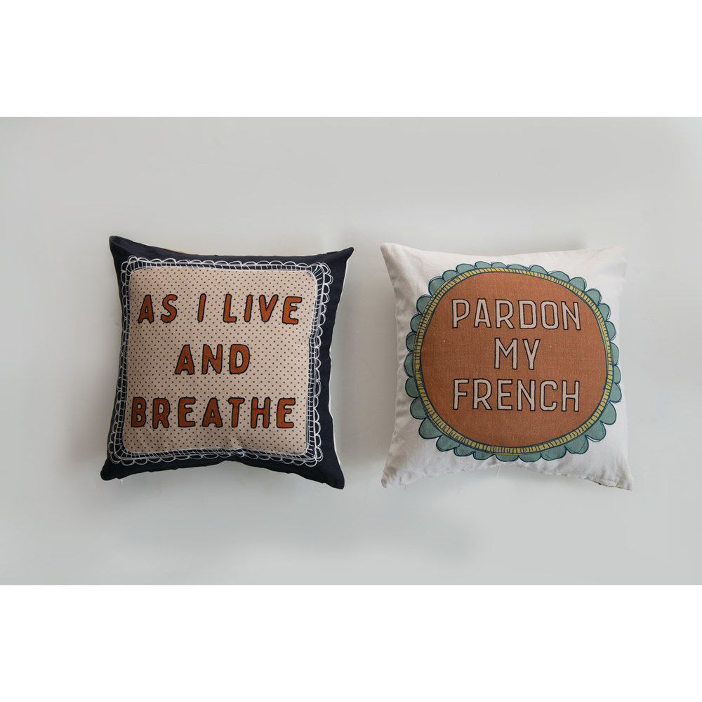 """18"""" Square Cotton Pillow, 2 Styles by Creative Co-op"""
