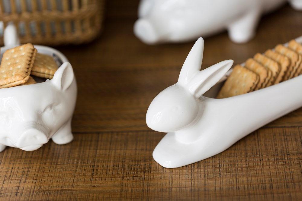 Rabbit Cracker Dish by Creative Co-op