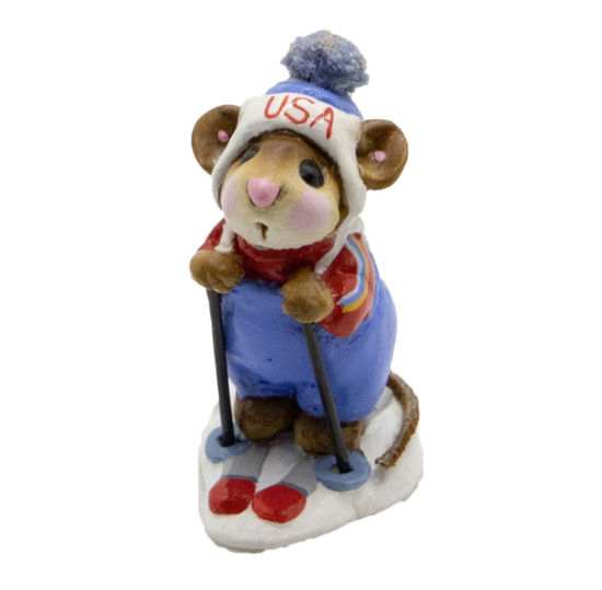 Skier Mouse MS-09 (USA Blue Knot) by Wee Forest Folk®