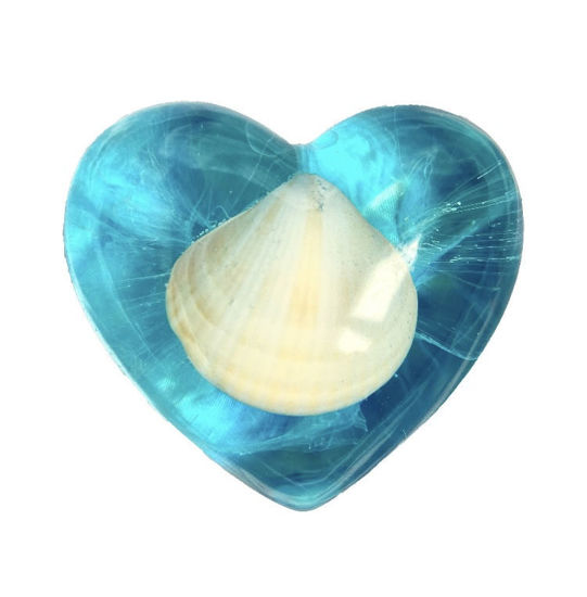 Seashell with Blue Large Heart by Spirited Pyramids