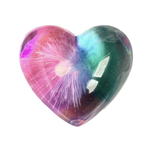 Pink, Purple, and Cyan Small Heart by Spirited Pyramids