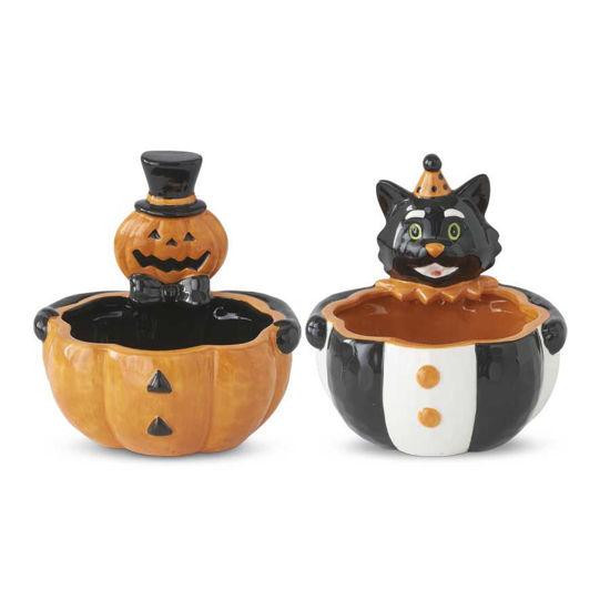Pumpkin & Cat Head Bowls by K & K Interiors