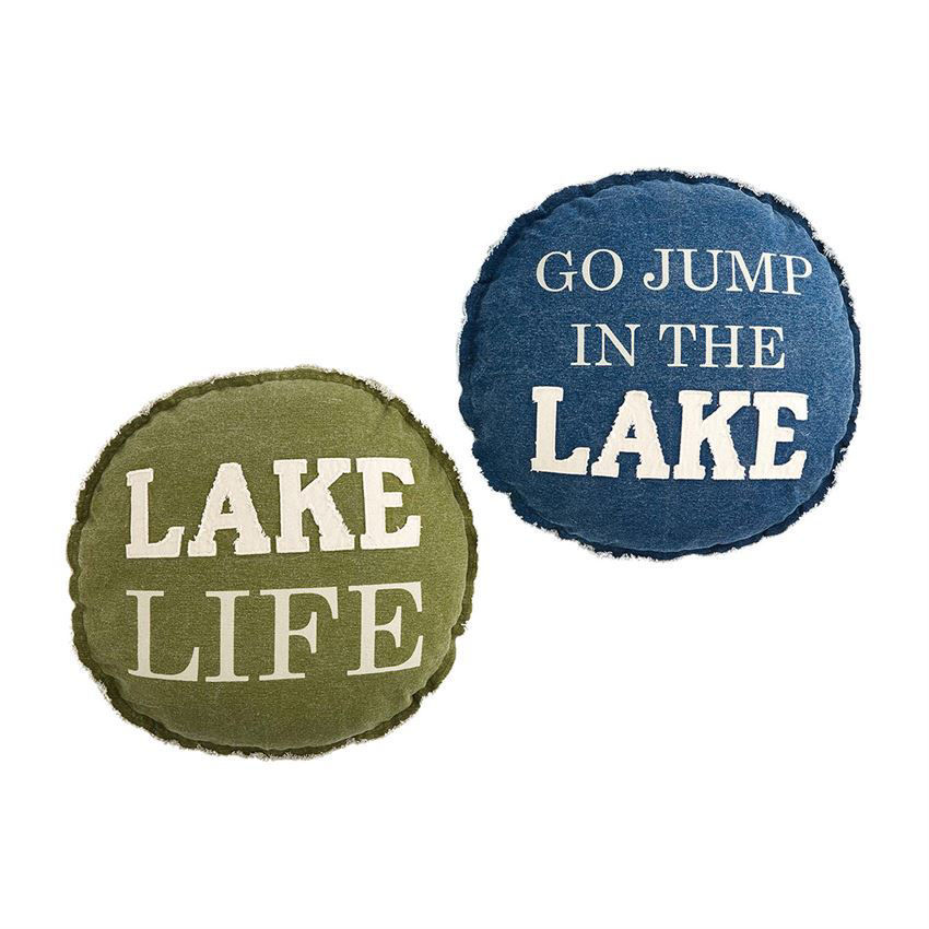 Lake Round Pillows (Assorted) by Mudpie