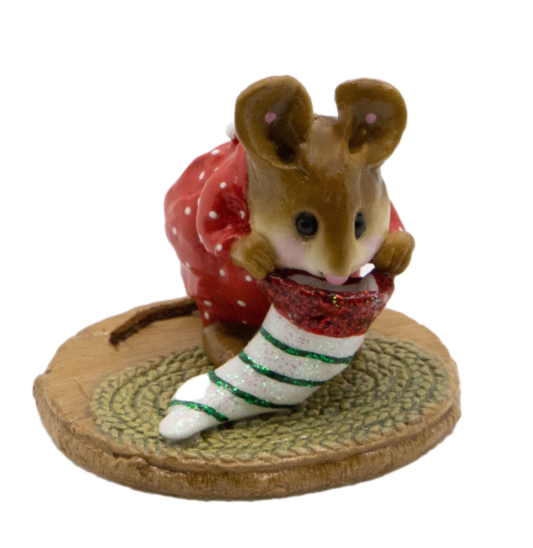 Chris-Mouse Stocking M-142 (White w/Stripes) by Wee Forest Folk®