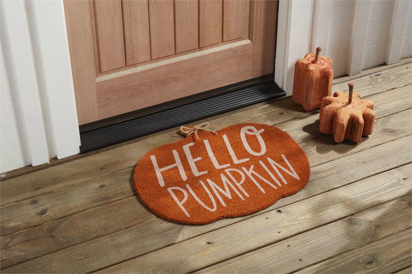 Hello Pumpkin Coir Mat by Mudpie
