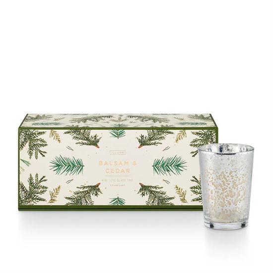 Balsam & Cedar Mini Luxe Sanded Mercury Glass Candle Set by Illume
