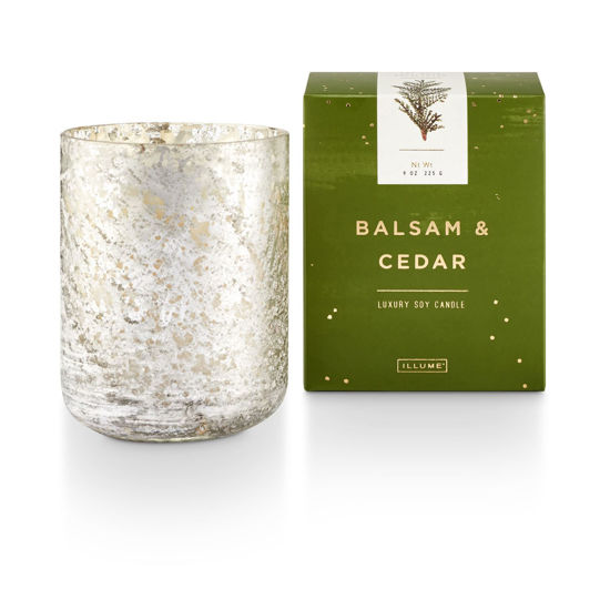 Balsam & Cedar Small Luxe Sanded Mercury Glass Candle by Illume