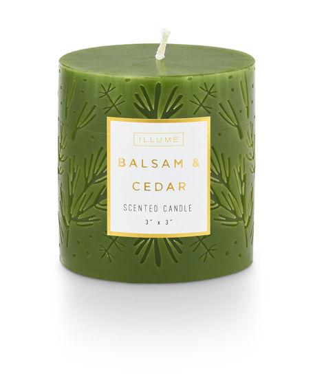 Balsam & Cedar 3 x 3 Small Etched Pillar by Illume
