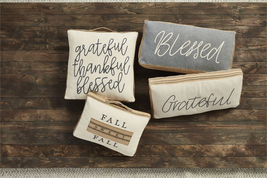 Grateful Thankful Blessed Pillow by Mudpie