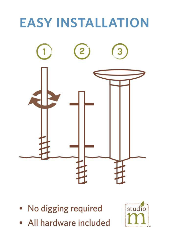 Daisy Blues Bird Bath Art Pole with Stainless Steel Topper by Studio M