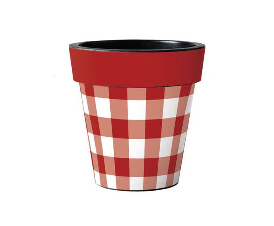 """Red and White Check 15"""" Art Pot by Studio M"""