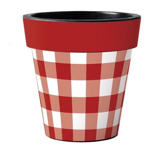 """Red and White Check 18"""" Art Pot by Studio M"""