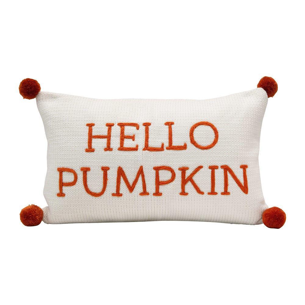 Hello Pumpkin Knit Pillow by Creative Co-op
