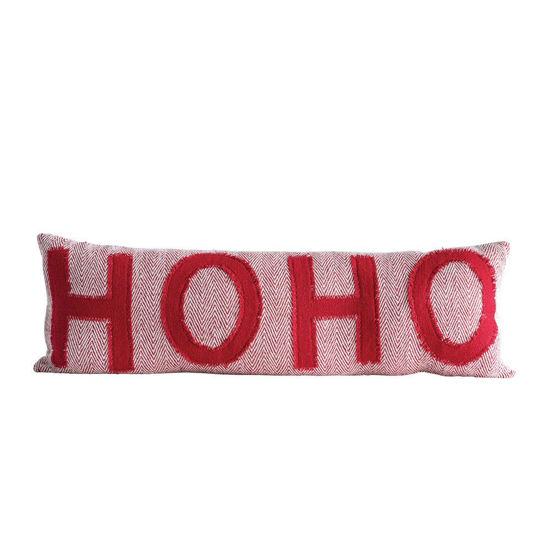 Ho Ho Ho Woven Pillow by Creative Co-op