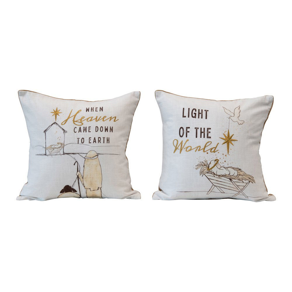 """16"""" Square Cotton Pillow, 2 Styles by Creative Co-op"""