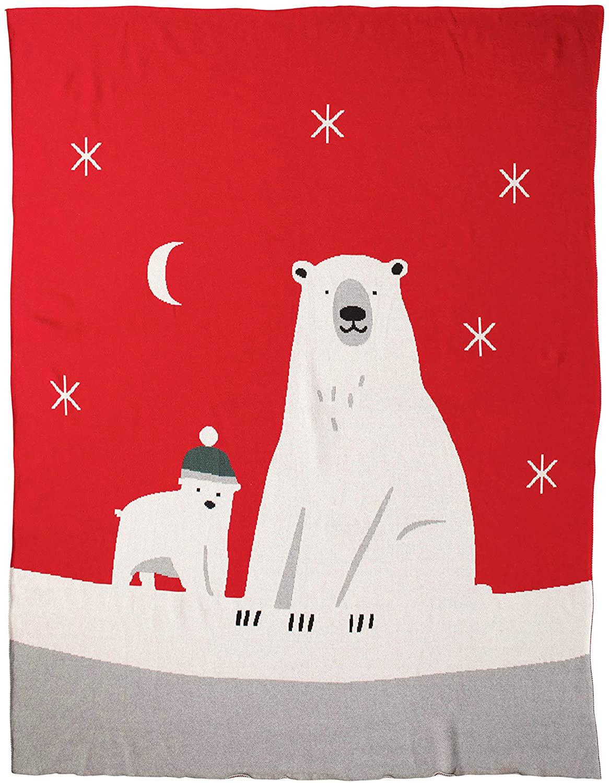 Polar Bear Cotton Knit Throw by Creative Co-op