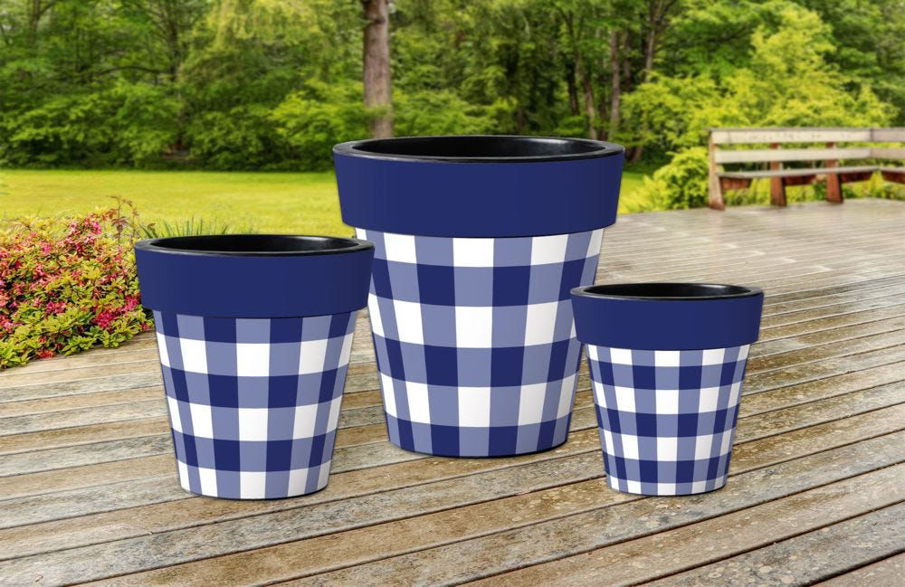 """Blue and White Check 12"""" Art Planter by Studio M"""