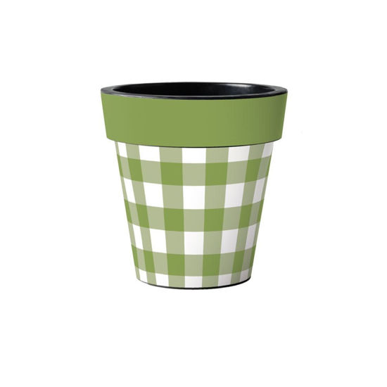 """Green And White Check 12"""" Art Planter by Studio M"""