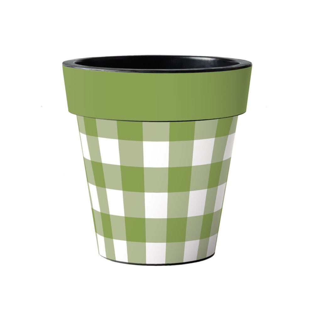 """Green and White Check 15"""" Art Pot by Studio M"""