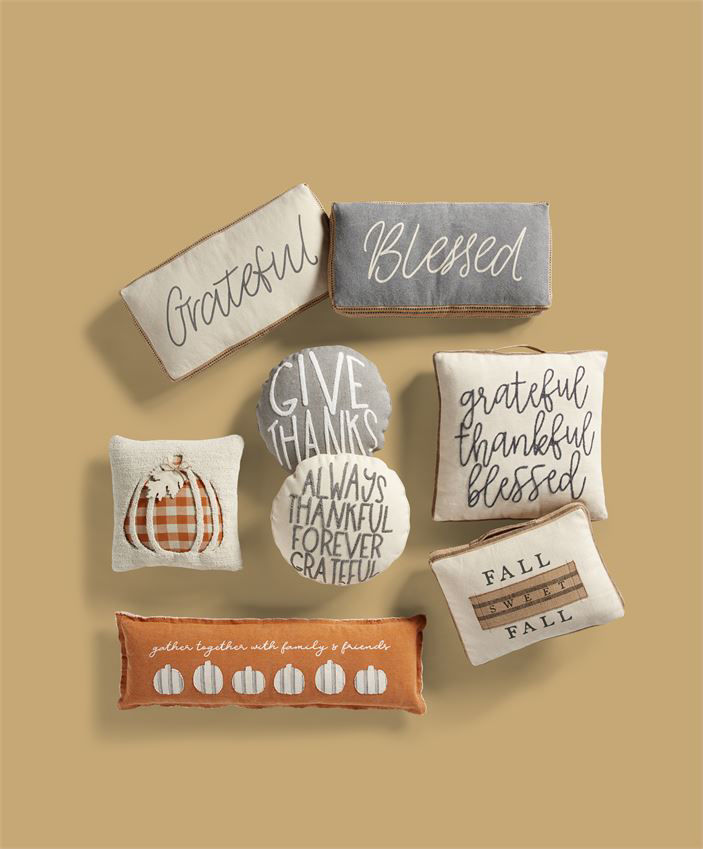Thanks Round Pillows (Assorted) by Mudpie