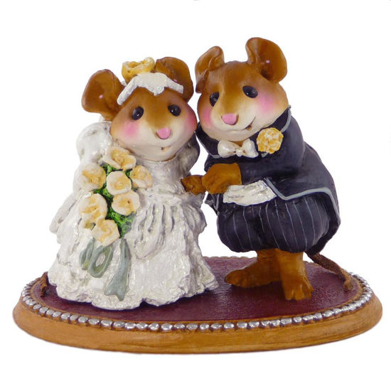 The Wedding Pair M-200 (Cream Flowers w/White) by Wee Forest Folk®