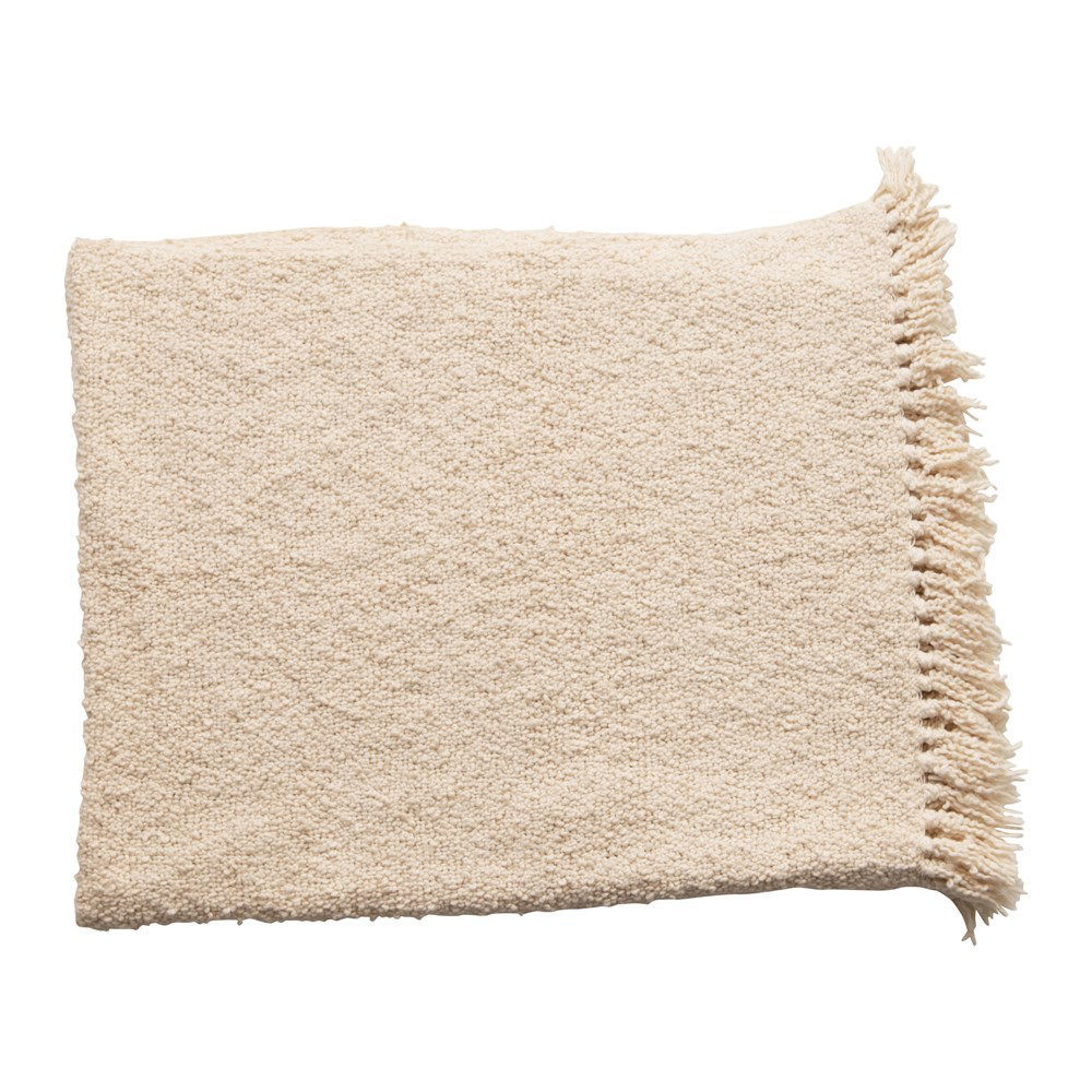 Cotton Blend Boucle Throw w/ Fringe, Cream Color by Creative Co-op